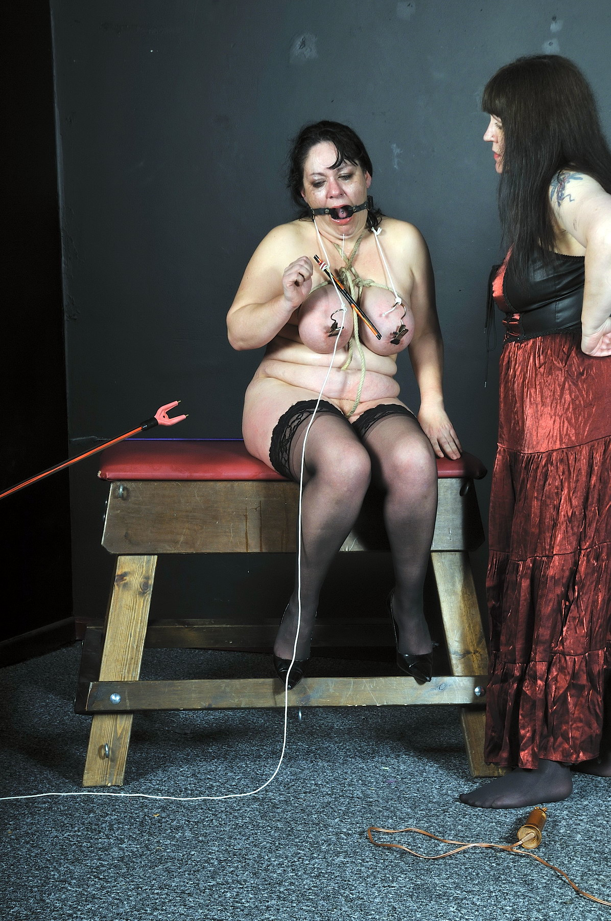 image Dominatrix uses her electro wand on her slave